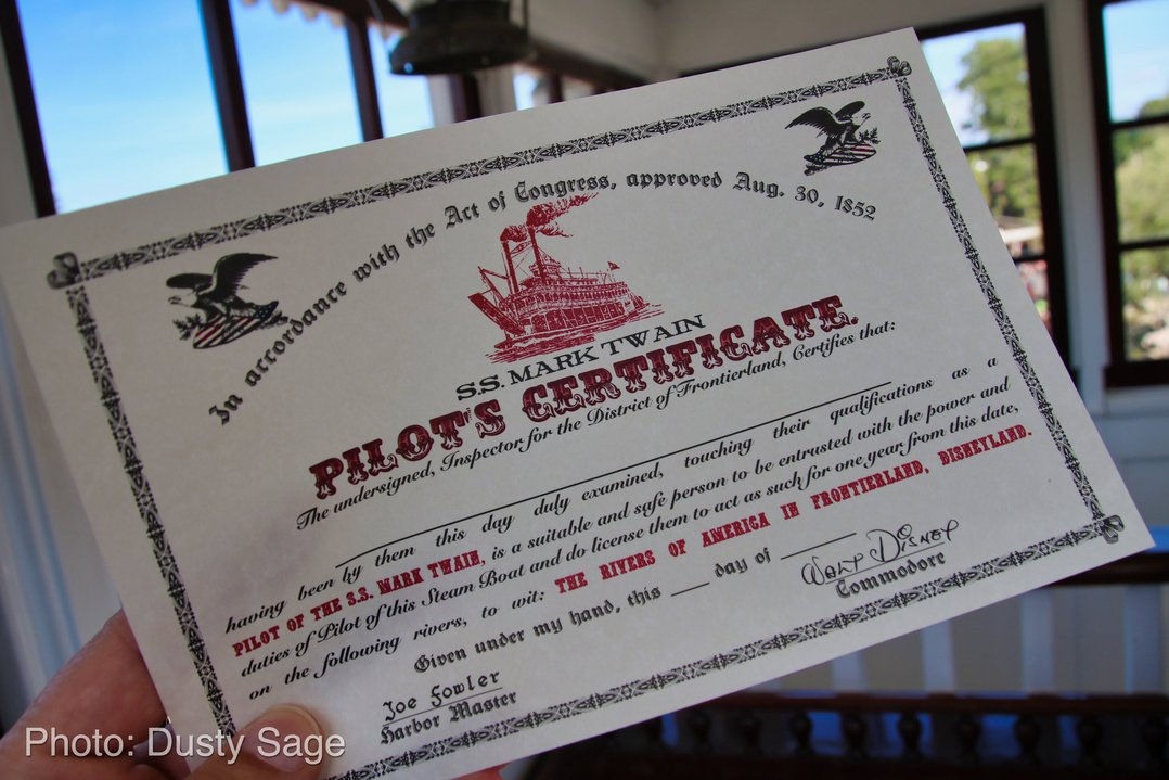 Disneyland-Disneyand-Mark-Twain-Pilots-Certificate- MiceChat